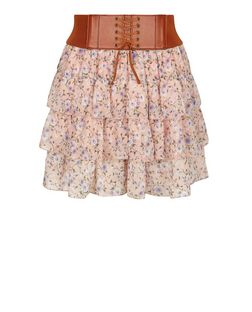 Teens Pink Ditsy Floral Belted Rara Skirt | New Look