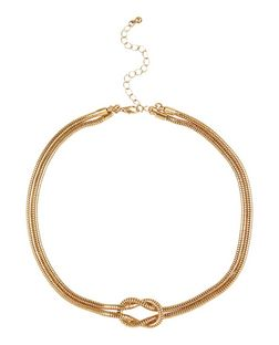 Gold Layered Knot Chain Necklace | New Look