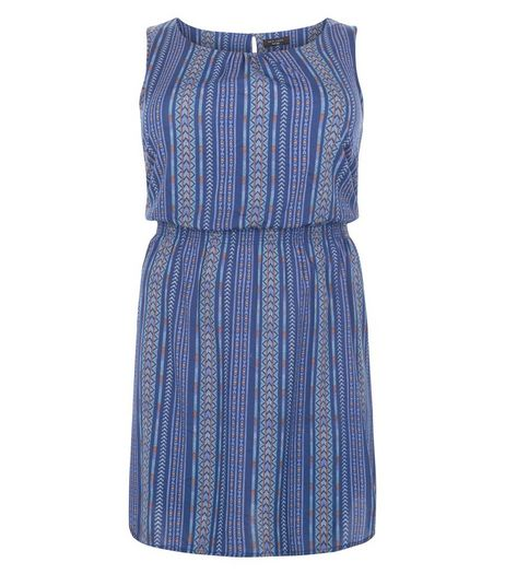 Curves Blue Stripe Sleeveless Dress | New Look
