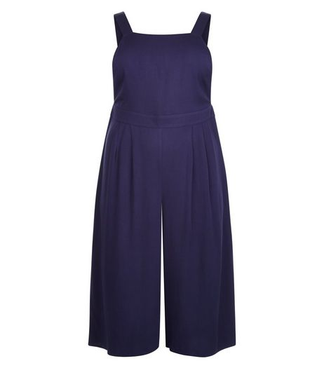 Curves Navy Sleeveless Culotte Jumpsuit | New Look
