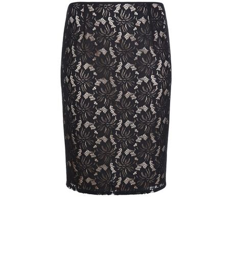 Curves Black Lace Pencil Skirt | New Look