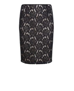 Plus Size Black Lace Pencil Skirt | New Look