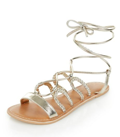 Wide Fit Gold Leather Plaited Ghillie Sandals  | New Look