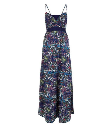 Mela Navy Floral Print V Neck Maxi Dress | New Look