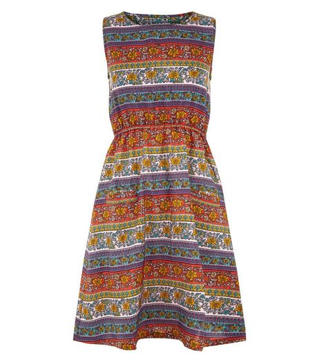Mela Multicoloured Floral Stripe Print Dress | New Look