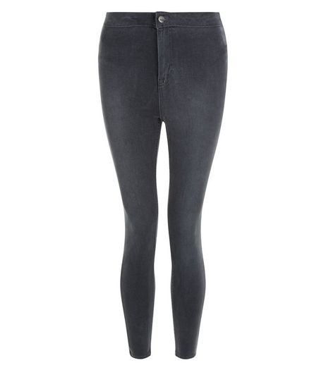 Petite Grey High Waist Super Skinny Jeans | New Look