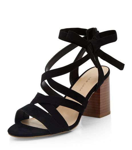 Wide Fit Black Tie-Up Sandals | New Look
