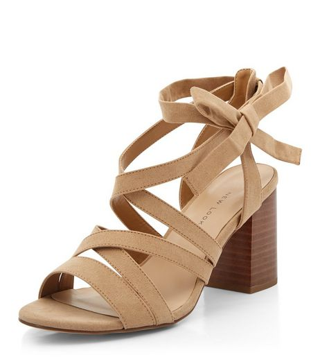 Wide Fit Camel Suedette Tie Side Block Heels  | New Look
