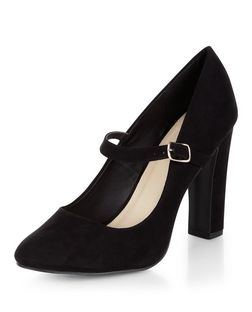 Black Comfort Suedette Block Heels | New Look