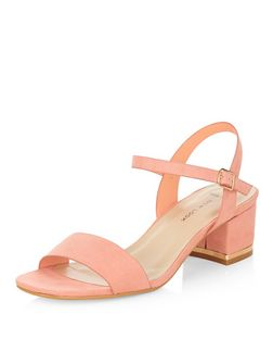 Wide Fit Coral Suede Metal Trim Mid Block Heel Sandals  | New Look