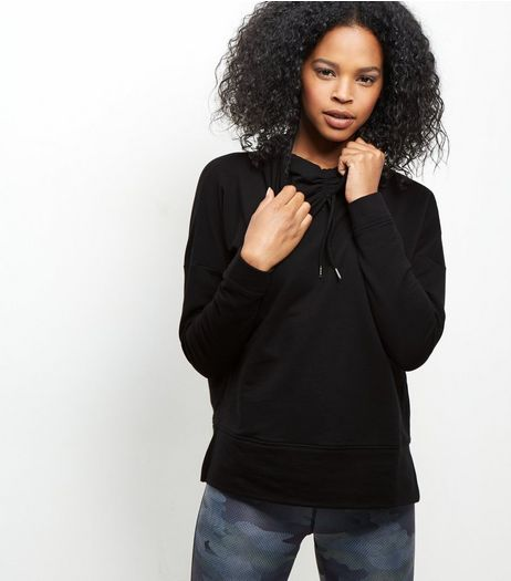 Black Cowl Neck Sports Jumper | New Look