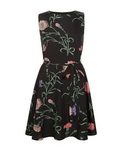 Mela Black Floral Print Skater Dress | New Look