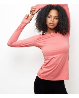 Coral Burnout Stripe Long Sleeve Sports Top | New Look
