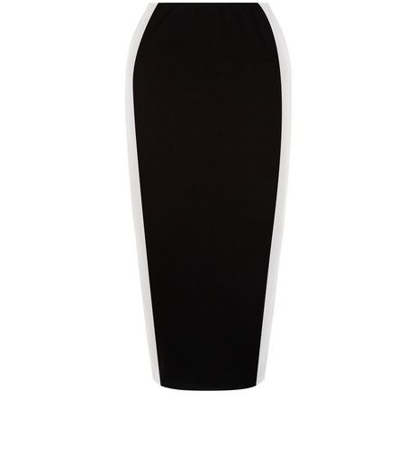Black Colour Block Stripe Side Pencil Skirt  | New Look