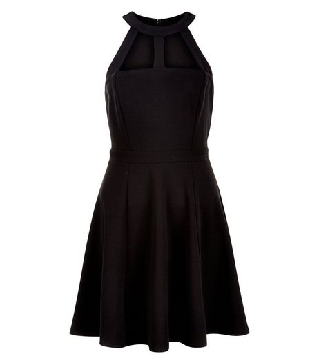 Black Cut Out High Neck Skater Dress | New Look