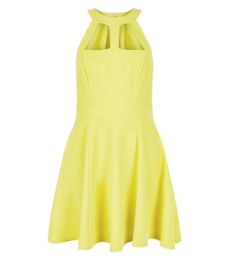 Lime Cut Out High Neck Skater Dress | New Look