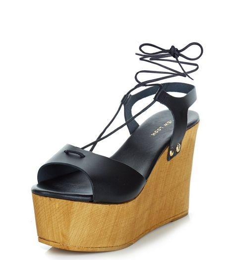 Black Premium Leather Contrast Plaform Wedge Sandals  | New Look