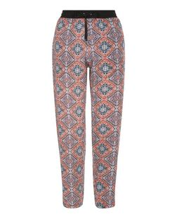 Blue Aztec Print Contrast Waistband Trousers | New Look