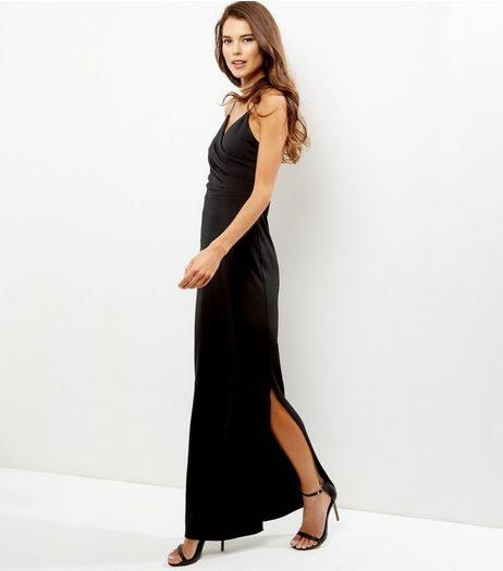 Black Wrap Front Side Split Maxi Dress | New Look