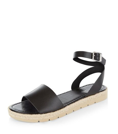 Black Leather Ankle Strap Espadrille Sandals | New Look