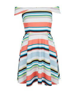 Multicoloured Stripe Bardot Neck Skater Dress  | New Look
