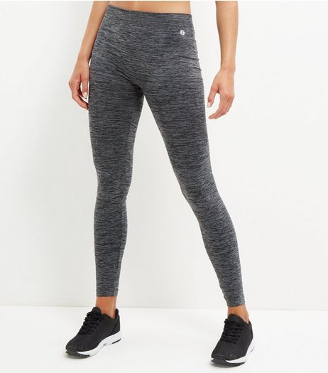 Dark Grey Space Dye Seamless Sports Leggings  | New Look