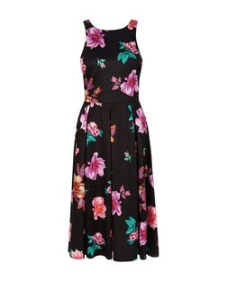 Black Floral Print Pleated Midi Dress  | New Look