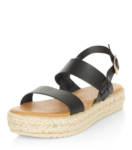 Black Leather Chunky Espadrille Sandals  | New Look