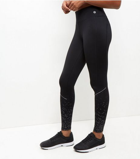 Black Spot Print Reflective Trim Sports Leggings | New Look
