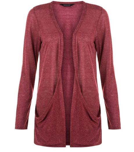 Burgundy Double Pocket Boyfriend Cardigan | New Look