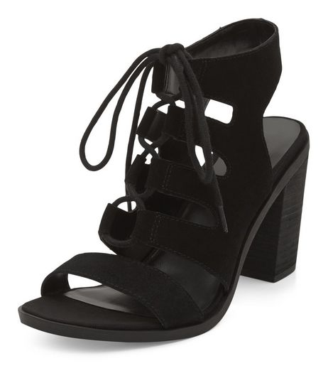Black Leather Ghillie Block Heels | New Look