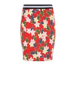 Teens Red Tropical Print Contrast Waistband Skirt | New Look