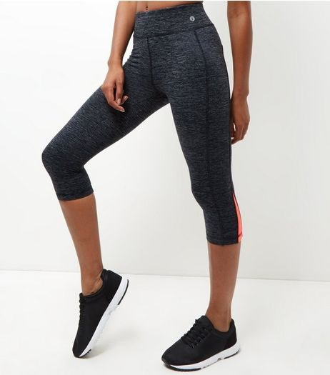 Dark Grey Contrast Panel Cropped Sports Leggings | New Look