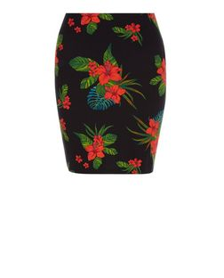 Black Tropical Print Tube Skirt  | New Look