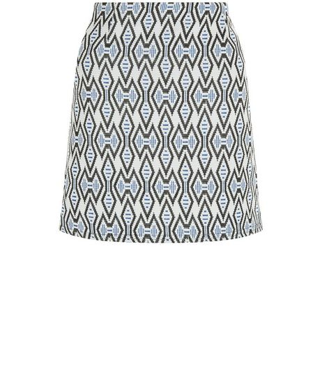 Blue Tribal Print Jacquard A-Line Skirt | New Look