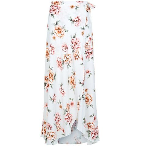White Floral Print Wrap Front Maxi Skirt  | New Look