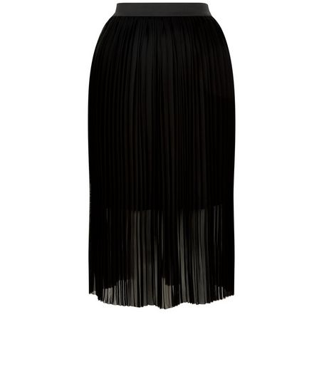 Black Elasticated Waist Pleated Midi Skirt  | New Look