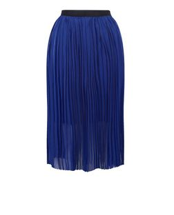 Dark Blue Elasticated Waist Pleated Midi Skirt  | New Look