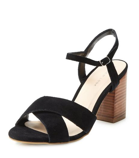 Black Leather Cross Strap Block Heels | New Look