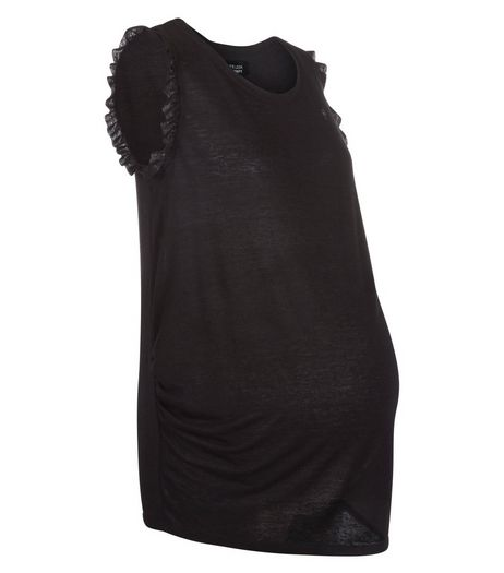 Maternity Black Frill Sleeve Tank Top | New Look