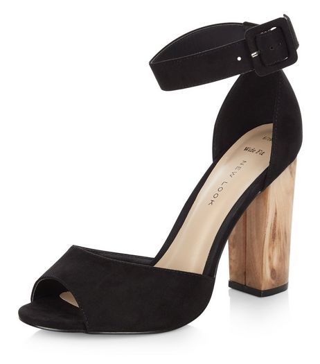 Wide Fit Black Suede Contrast Block Heels | New Look