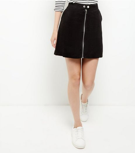 Black Suedette Zip Front Mini Skirt | New Look