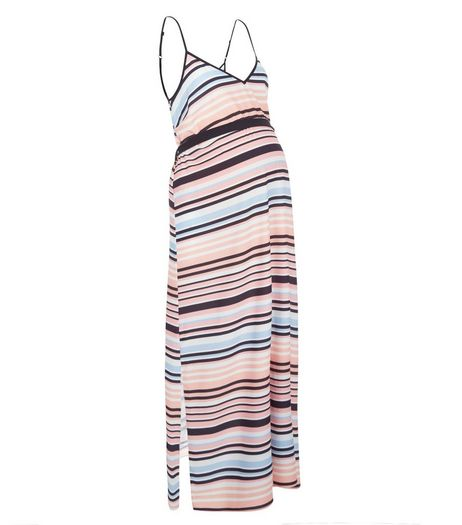 Maternity Pink Stripe Belted Maxi Dress | New Look