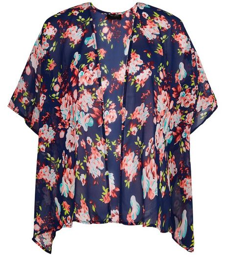 Teens Blue Floral Kimono | New Look
