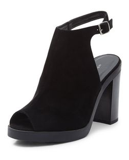 Black Suedette Peep Toe Sling Back Block Heels | New Look