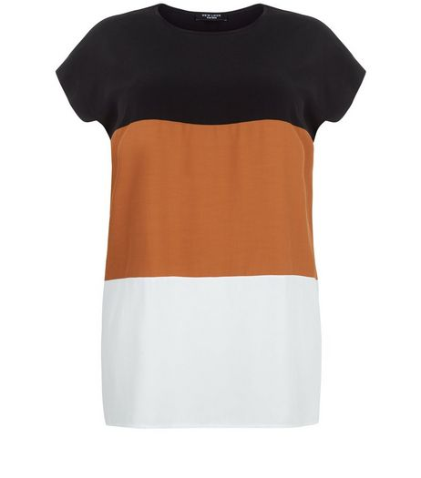 Curves Tan Colour Block Longline T-Shirt  | New Look