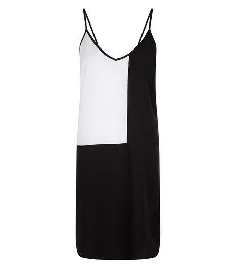 Tall Black Colour Block V Neck Slip Dress | New Look