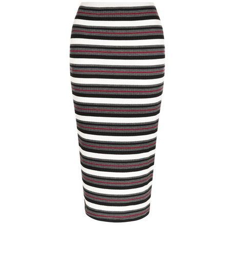 White Stripe Ribbed Pencil Skirt | New Look