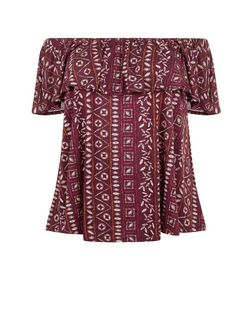 Curves Red Aztec Print Bardot Neck Top | New Look
