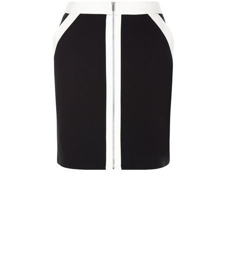 Monochrome Colour Block Zip Front A-Line Skirt  | New Look